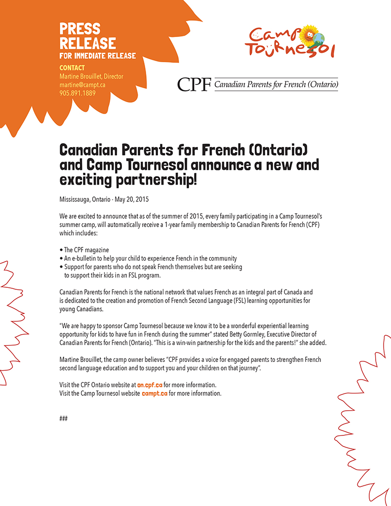 announcing partnership between Canadian parents for French and Camp Tournesol