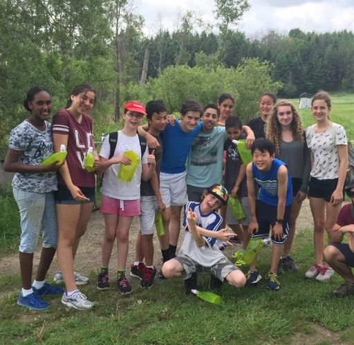 Group of campers posing outside at our leadership camp