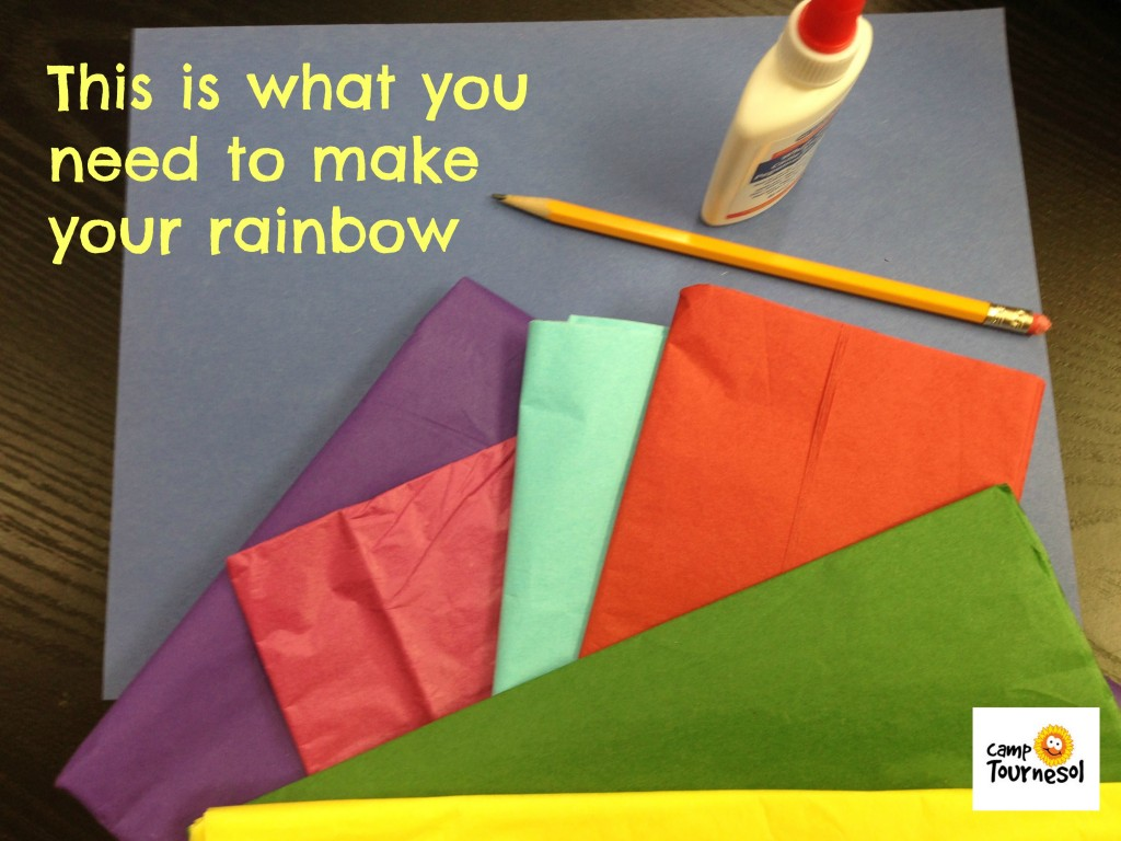 material for tissue paper rainbow Fun craft for kids